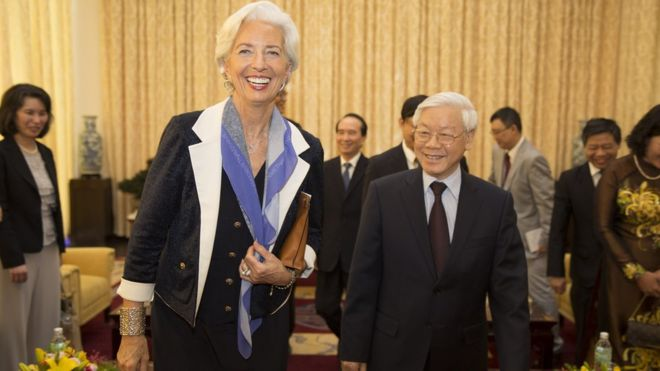 TBT Nguyễn Phú Trọng tiếp bà Christine Lagarde khi đó là Giám đốc điều hành Quỹ Tiền tệ Quốc tế (IMF) thăm VN tháng 3/2016