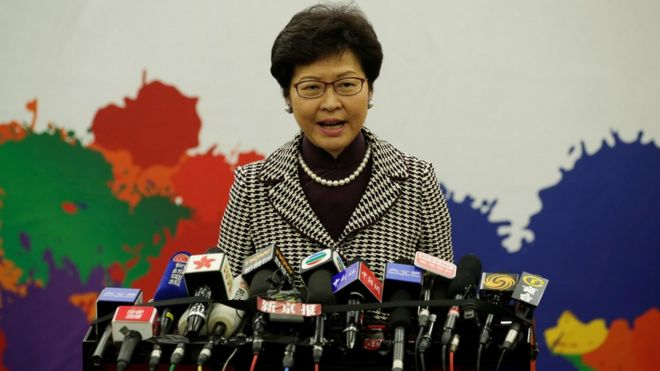 Hong Kong leader-elect Carrie Lam attends a news conference in Beijing, China, 11 April 2017
