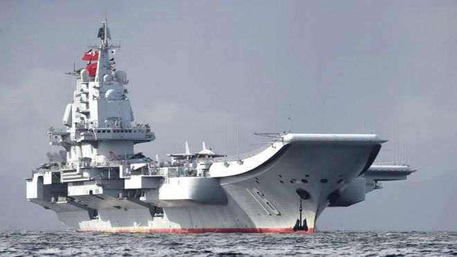 China's sole aircraft carrier, the Liaoning, arrives in Hong Kong waters on 7 July 2017, less than a week after a high-profile visit by president Xi Jinping