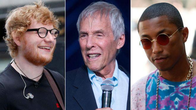 Ed Sheeran, Burt Bacharach and Pharrell Williams