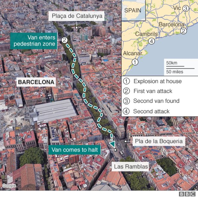 Map showing route of van which drove into crowds in Barcelona