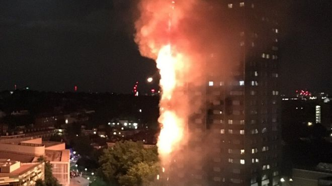 The fire appeared to take hold of the building in one corner before engulfing the tower block