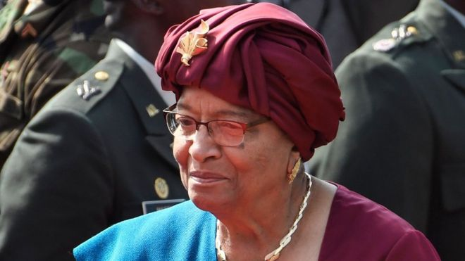 Liberia's former president, Ellen Johnson Sirleaf, arrives at the swearing-in ceremony of the country's president-elect, 22 January 2018