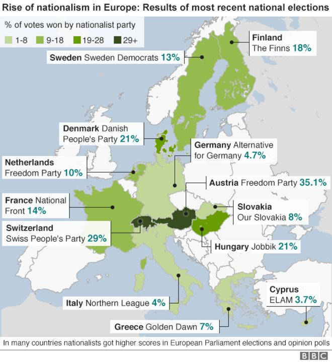 Guide To Nationalist Parties Challenging Europe BBC News - Political parties us map 2016