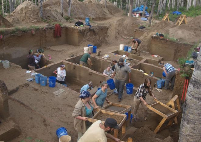 Excavations at the Upward Sun River archaeological site in Alaska