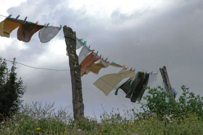Washing on a line