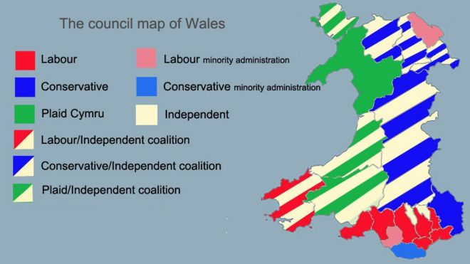 Wales council map