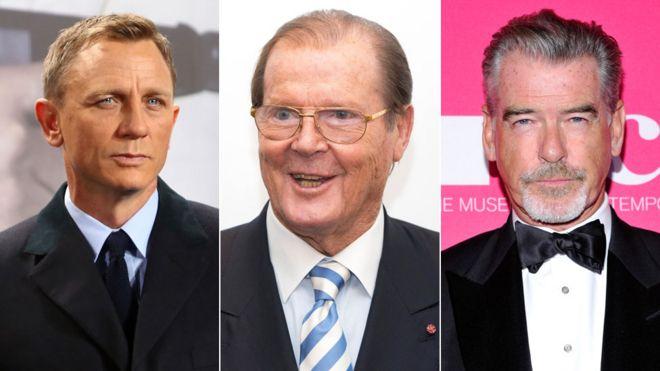 Daniel Craig, Roger Moore and Pierce Brosnan