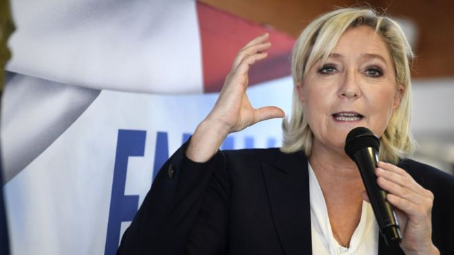 Leader of France's National Front, Marine Le Pen