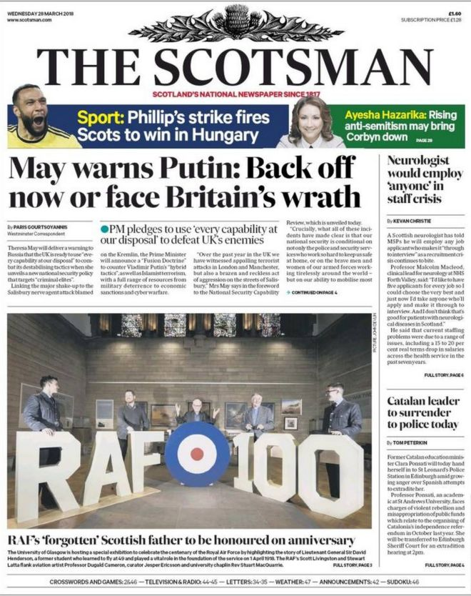 Image result for the scotsman newspaper for wednesday, 28th of march 2018