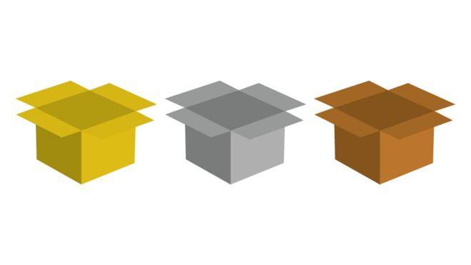 Ilustração de três caixas