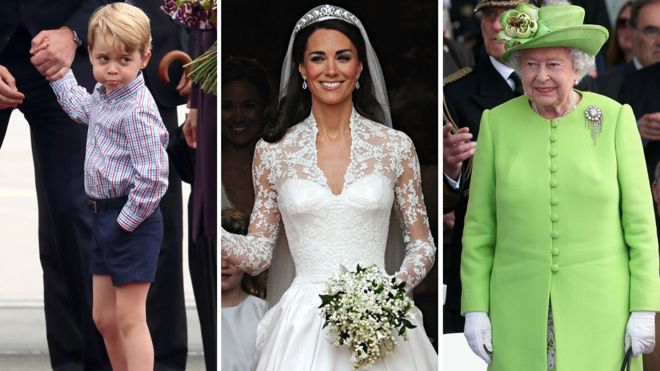 El príncipe George, la duquesa de Cambridge y la reina Isabel.