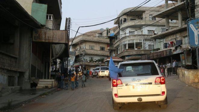 comboio com alimentos e produtos básicos em Madaya