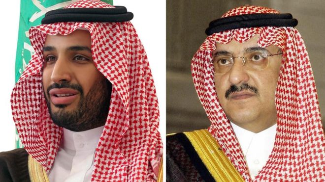Prince Mohammed bin Salman (left) and prince Mohammed bin Nayef