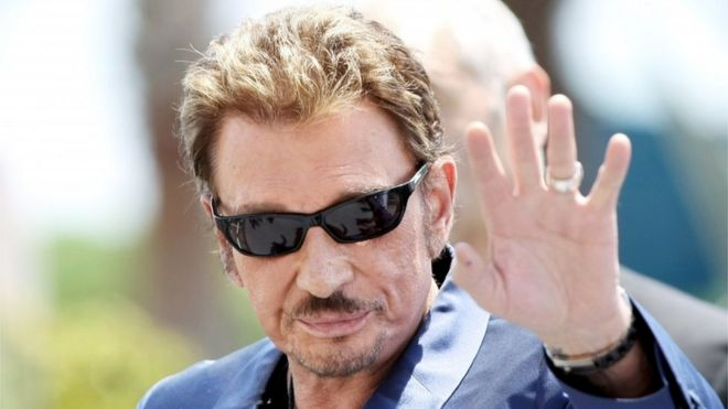 A file picture dated 17 May 2009 shows French musician and singer Johnny Hallyday at the 62nd Cannes Film Festival in Cannes, France