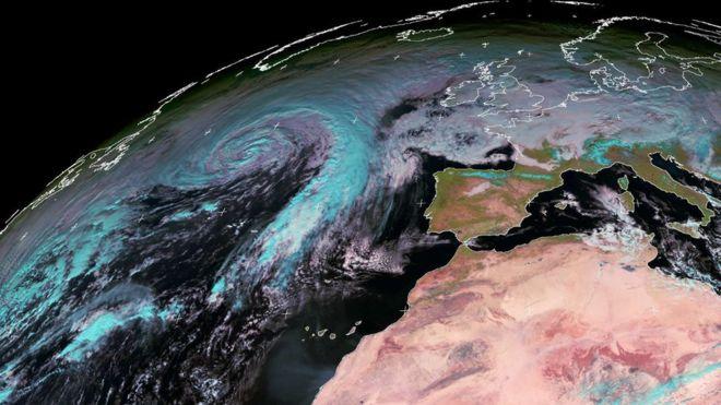 Satellite image of Storm Caroline