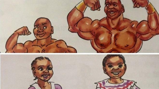 Livro didático da Tanzânia mostrando garotas e rapazes