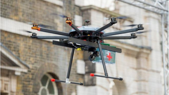 A drone delivering first aid supplies