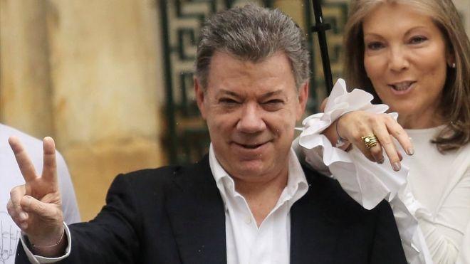 Juan Manuel Santos y su esposa