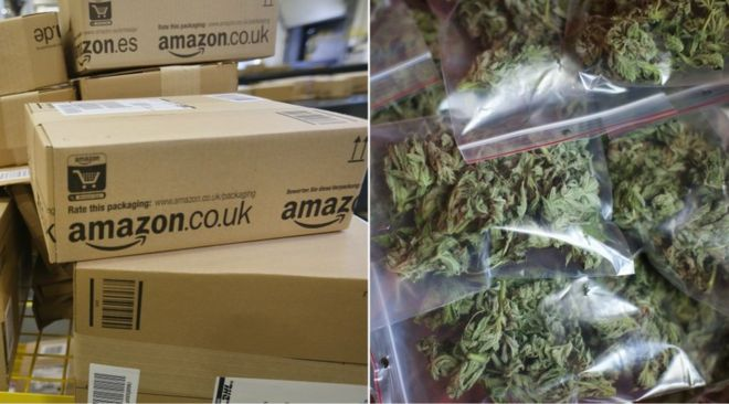 Collage picture showing Amazon storage boxes and packets of cannabis