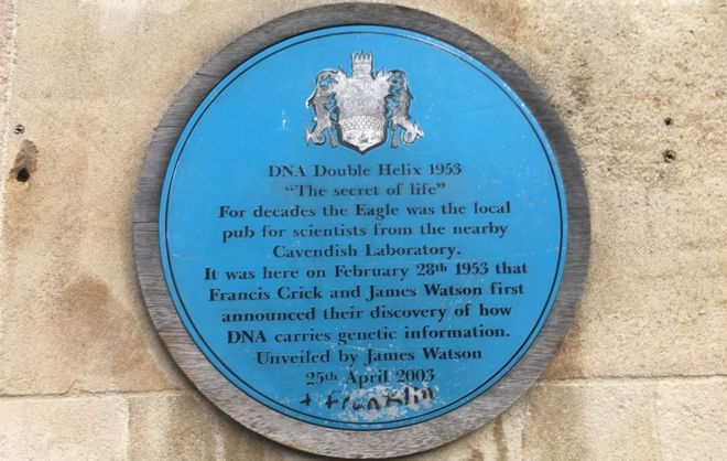 Blue plaque outside Eagle pub
