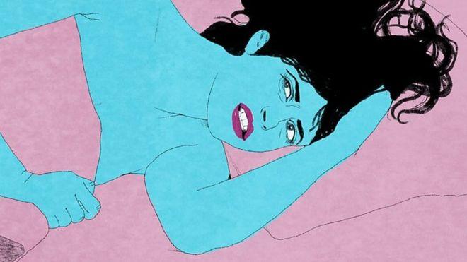 Ilustração de uma mulher com dor