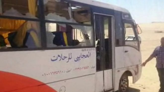 Screengrab of video purportedly showing the aftermath of the attack on a bus carrying Coptic Christians in Minya province on 26 May 2017