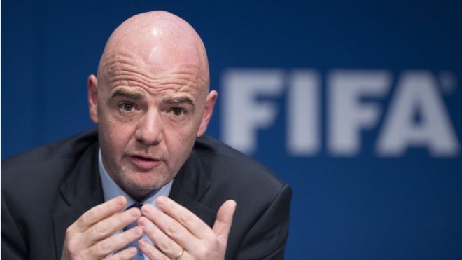 Rais wa Shirikisho la Soka la Kimataifa (FIFA) Gianni Infantino