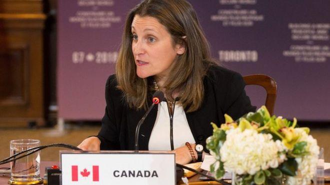 وزیر خارجه کانادا در نشست گروه ۷