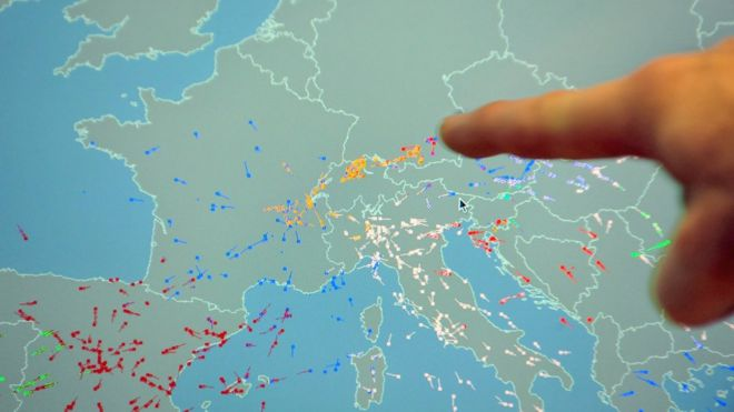File photo from 2010 of the Eurocontrol system showing flight paths