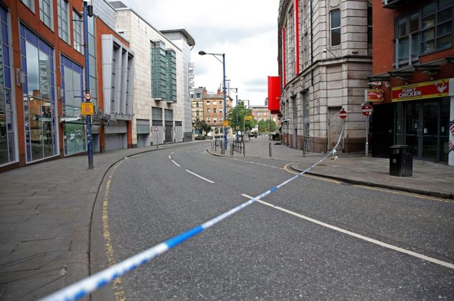 An empty Manchester street after the terrorist attack in Manchester, England.