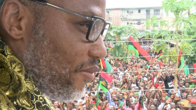 Leader of Indigenous People of Biafra (IPOB) Nnamdi Kanu greets supporters in Umuahia