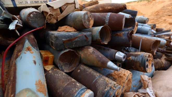 Unexploded munitions, found around an airport in Tripoli, Libya - February 2015