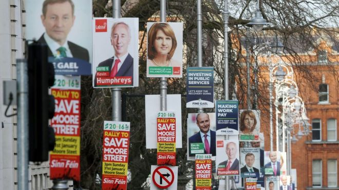 Election posters outside Government Buildings in Dublin (3 Feb)