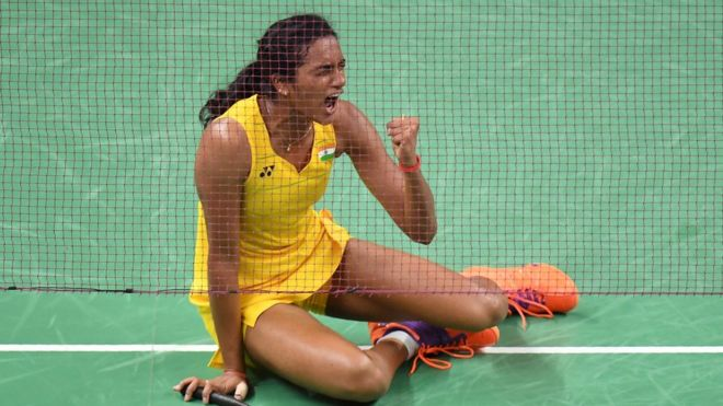 India's Pusarla V. Sindhu reacts after winning against China's Wang Yihan during their women's singles quarter-final badminton match at the Riocentro stadium in Rio de Janeiro on August 16, 2016