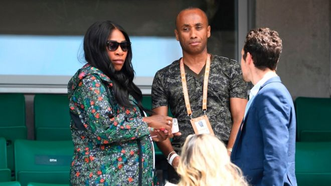 Serena Williams (left) watched her sister, Venus, play at the French Open in Paris on Wednesday