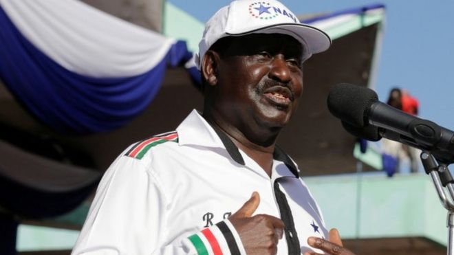 Kenyan opposition leader Raila Odinga of the National Super Alliance (NASA)