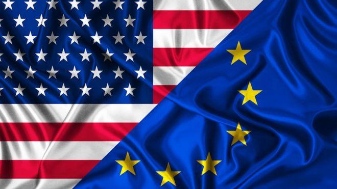 US flag next to EU flag