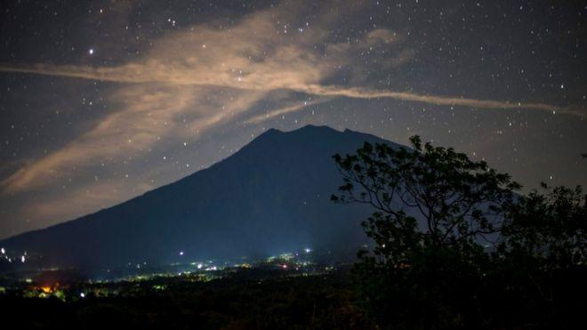 Starlit long exposure showing Bali's volcano silouette