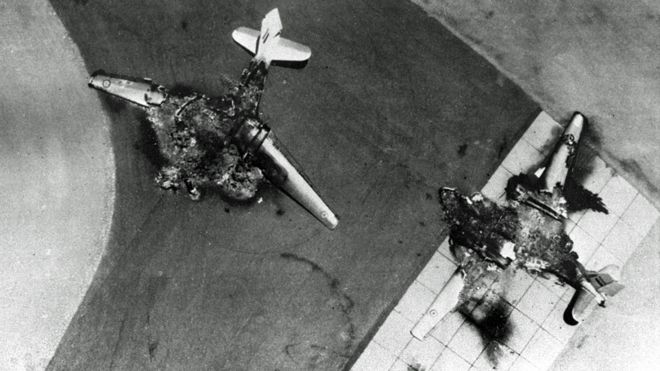 Egyptian warplanes lie destroyed on the tarmac after an Israeli Air Force pre-emptive strike June 5, 1967 against Egyptian airfields at the start of the Six-Day War.