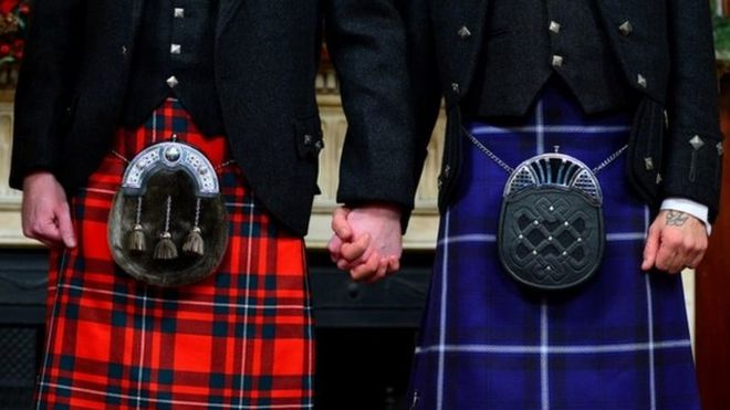 Kilts and sporrans of wedding couple