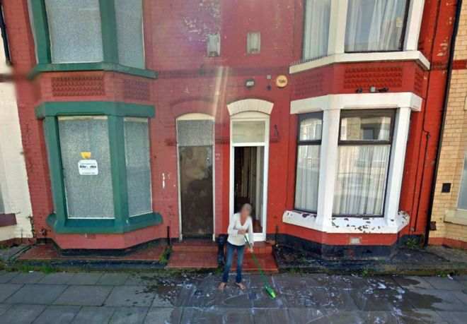 This shot from Google Streetview shows Lynda cleaning the pavement