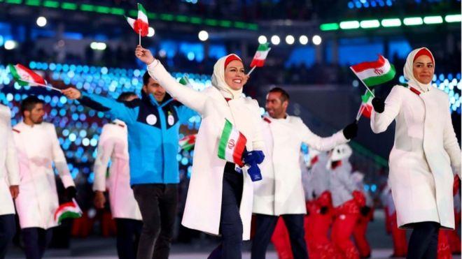 La delegación de Irán desfila en PyegonChang