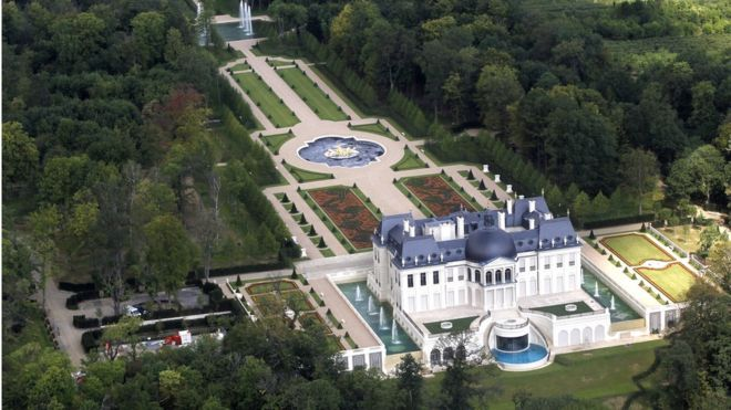 An aerial view of a luxurious private house in Louveciennes, near Paris, on 14 July 2011.