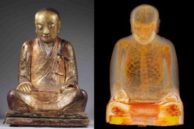 The Zhanggong Patriarch and x-ray images of the monk's remains inside