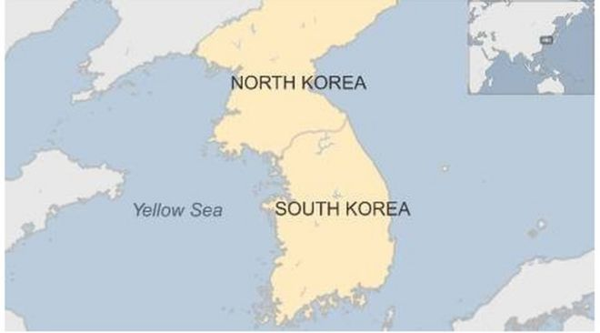 South korea fires shots at north korean boat bbc news map showing north and south korea and the yellow sea 25 october 2015 gumiabroncs Image collections