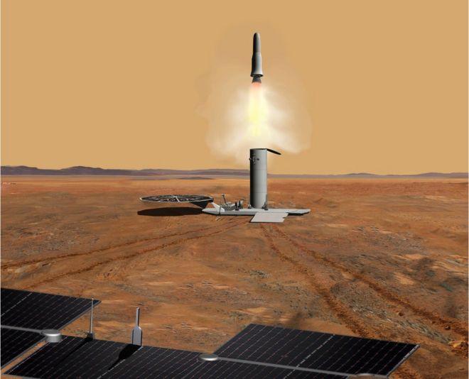 Ilustração mostra equipamentos no solo de Marte