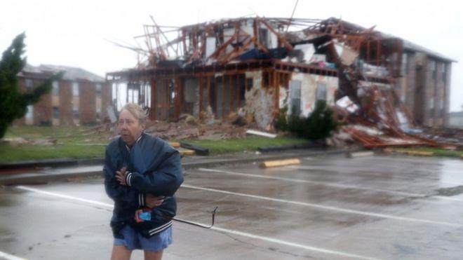 Una casa destruida en Rockpoint, Texas.