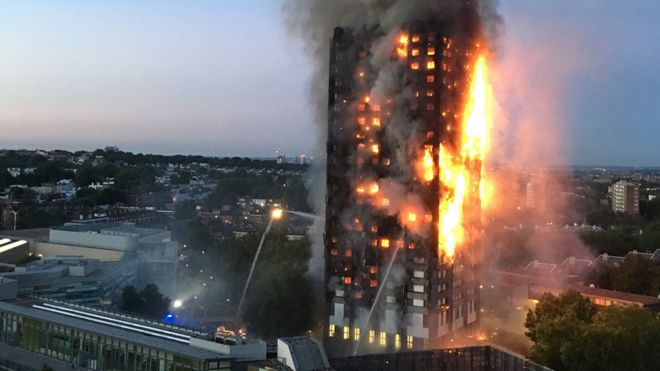 Grenfell Tower in the early hours of 14 June