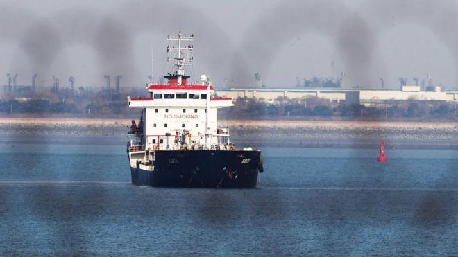 被扣留在韓國平澤港的KOTI號油輪(1/1/2018)